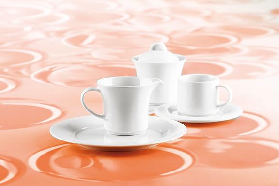 Savoy Dekor weiß uni Kaffee