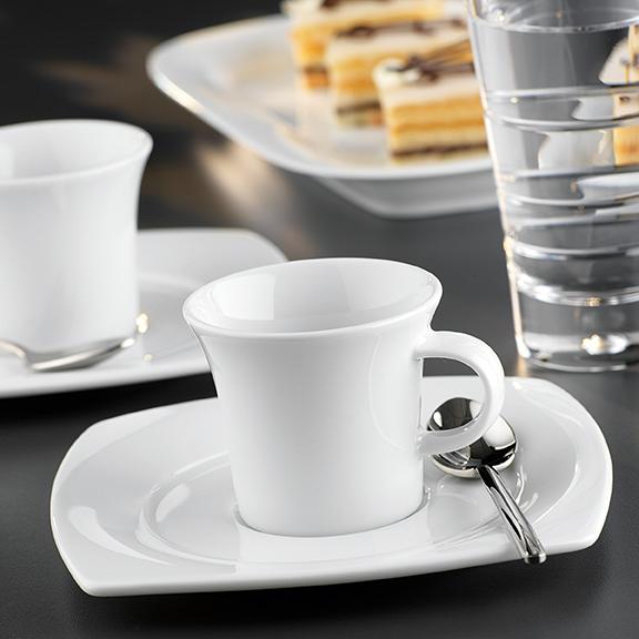 Savoy Dekor weiß uni Kaffee eckig