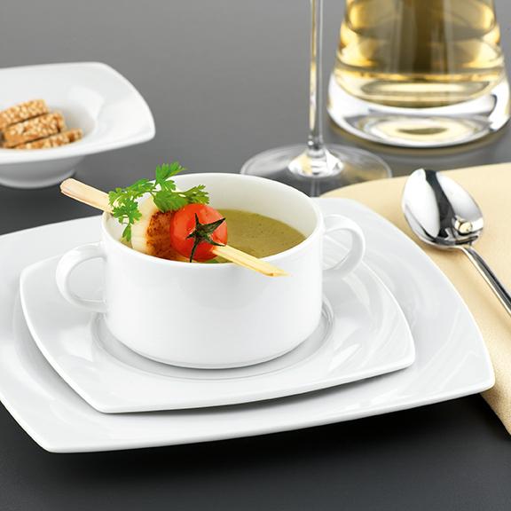 Savoy Dekor weiß uni Tafel, Suppentasse