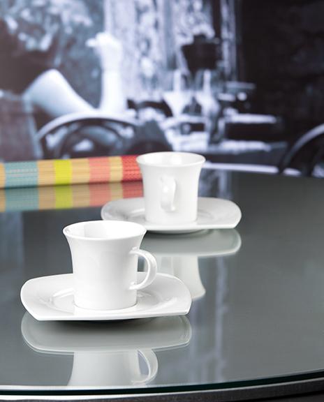 Savoy Dekor weiß uni Kaffeetassen eckig