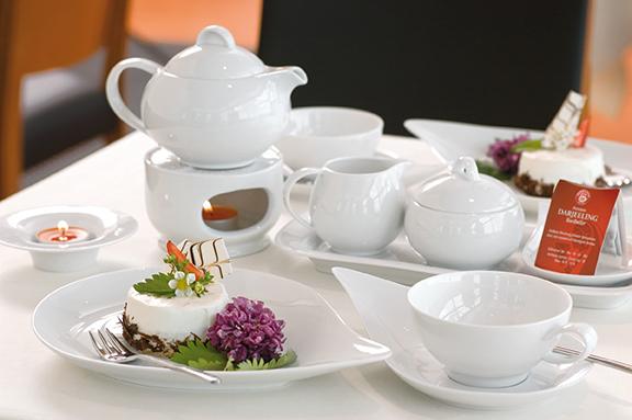 Savoy Dekor weiß uni Tee