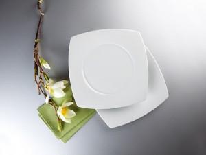 Savoy Dekor weiß uni Teller flach eckig 28 cm