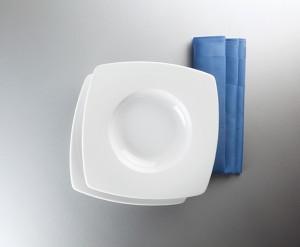 Savoy Dekor weiß uni Teller tief eckig 24,5 cm