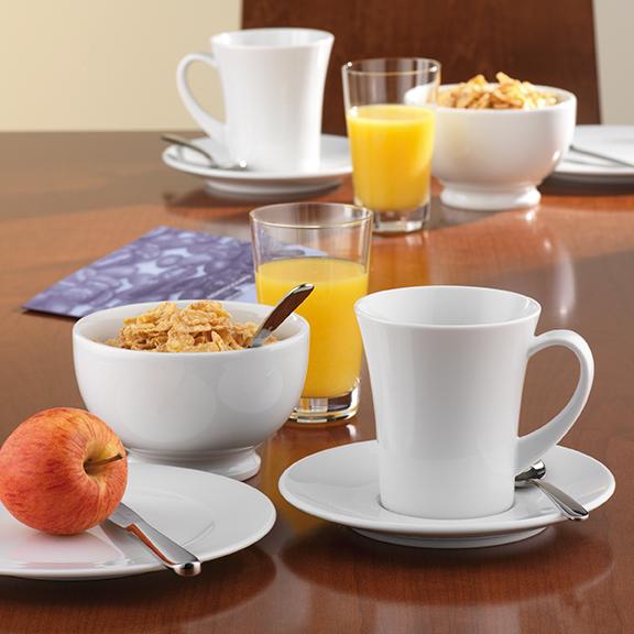 Meran Dekor weiß uni Kaffee, Frühstück